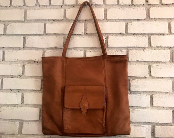 Vintage Leather Purse / Handbag / Boho Satchel. Cognac Brown Leather Tote. Gift for Her. Hippie Chic Bag.
