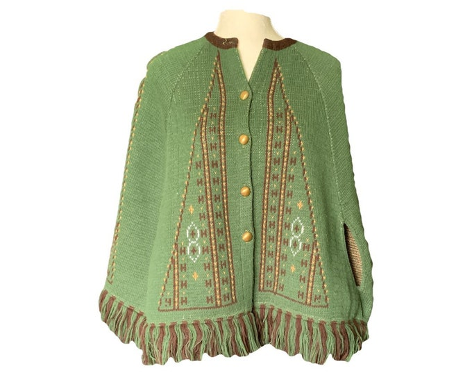 1960s Knit Sweater Poncho or Jacket in Green and Brown by Carol Brent. Very English Countryside Bohemian Chic.