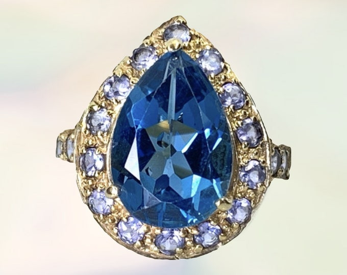 1980s Swiss Blue Topaz Ring with Iolite Halo in a 14K Yellow Gold Setting. Vintage Cocktail Ring. November Birthstone. 4th Anniversary