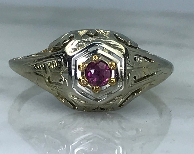 Antique Art Deco Ruby Ring. Unique Engagement Ring. July Birthstone. 15th Anniversary. APPRAISED Estate Jewelry.