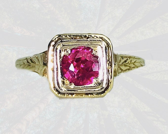 Antique Art Deco Ruby Ring in a 14K Yellow Gold Setting. Unique Engagement Ring. July Birthstone. Sustainable Estate Jewelry Circa 1910