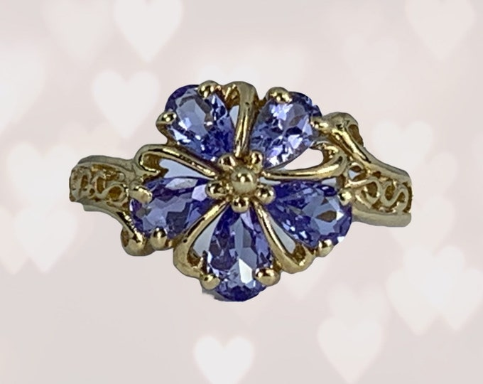 Vintage Tanzanite Ring in a 10k Yellow Gold Flower Setting. December Birthstone. 24th Anniversary Gift. Estate Jewelry.