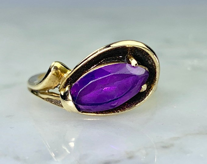 Vintage Purple Sapphire Ring in 10k Yellow Gold Modernist Setting by Dason. Unique Engagement Ring. September Birthstone