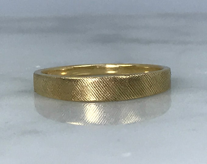 Vintage Yellow Gold Wedding Band with a Satin Finish. Stacking Ring. Weighs 1.6 Grams. Estate Fine Jewelry. Size 5.