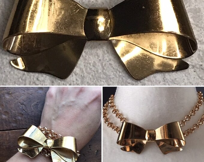 Vintage Bow Gold Tone Brooch by Coro. Possible Statement Necklace or Bracelet?