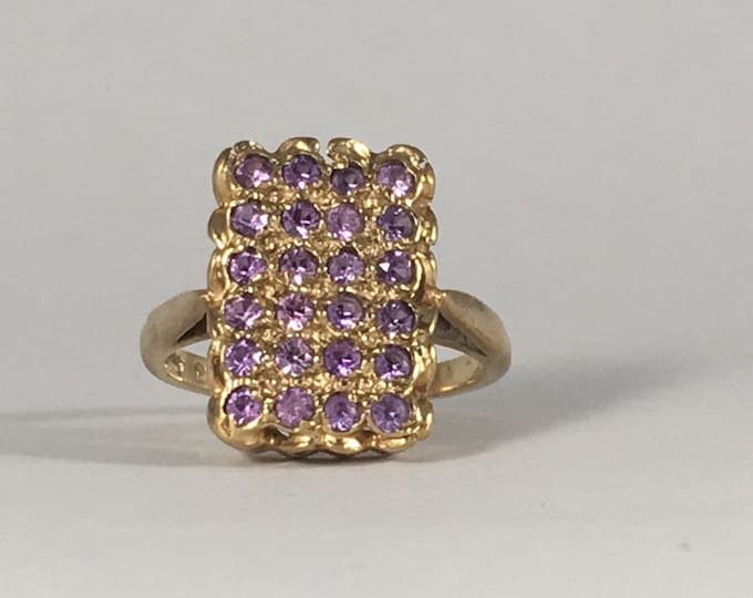 Vintage Amethyst Cluster Ring with 24 Round Amethysts in 9k Gold. Unique Engagement Ring. February Birthstone. 6th Wedding Anniversary Stone