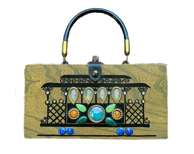 Vintage Jeweled Wood Box Purse by Enid Collins with Cable Car Design. Collectable Handbag. 1960s Sustainable Fashion Accessory