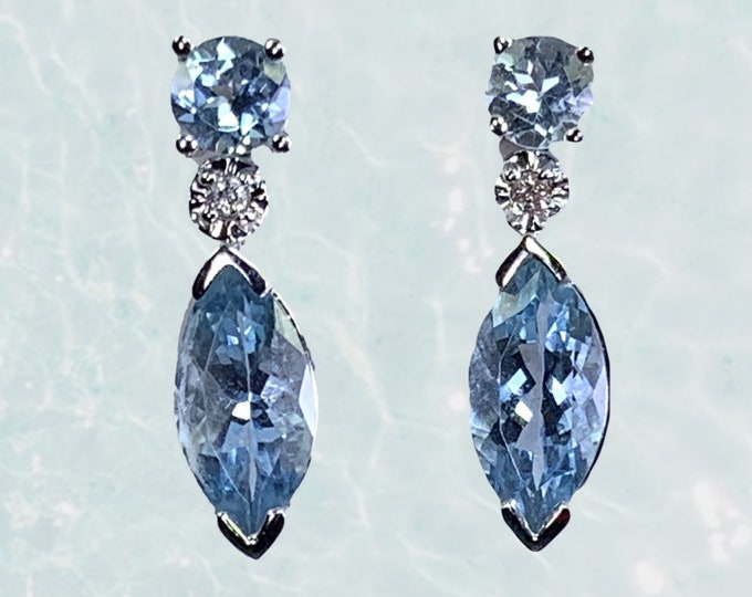1970s Aquamarine Drop Earrings with Diamond Accents set in 14K White Gold. Perfect Something Blue and Something Old Wedding Jewelry.