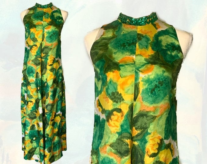 1950s Floral Maxi Dress with Green and Yellow Flowers by Reef. Perfect Tropical Summer Dress