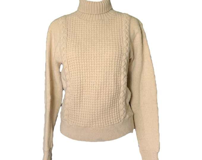 Vintage 1960s Cream Cable Knit Sweater from NuKnit. Chunky Off White Wool. Sustainable Fashion Traditional Style.