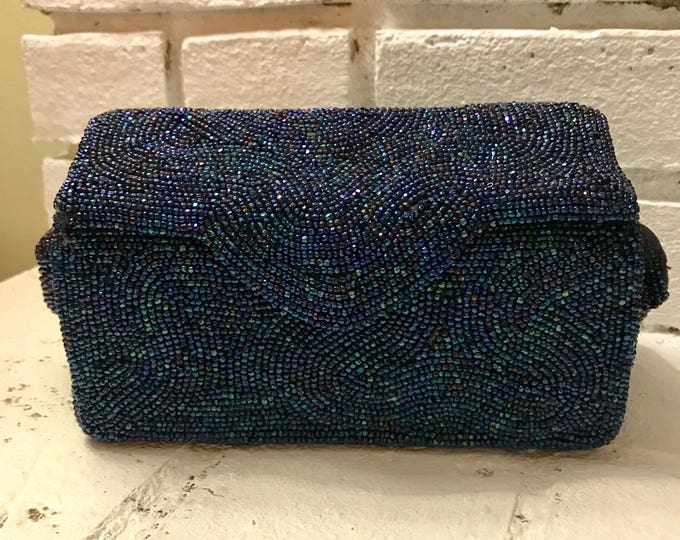 Vintage Beaded Evening Bag.  K&G Charlet Beaded Bag. Navy Blue Box Purse. Vintage Fashion Accessory. Gift for Her. Estate Sale. Collectable