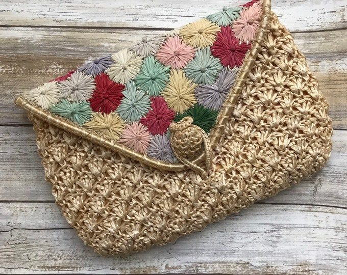 Straw Clutch by Saks Fifth Avenue Made in Italy. Colorful Woven Floral Purse. 1940s Sustainable Vintage Fashion Accessory.