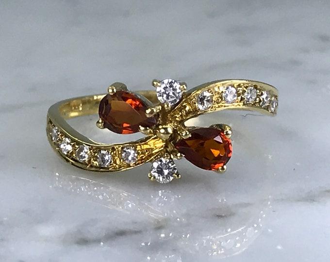 Vintage Citrine Diamond Ring. 18k Yellow Gold. French Estate Jewelry. Unique Statement Ring. November Birthstone. 13th Anniversary Gift.