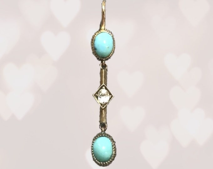 Antique Turquoise and Diamond Drop Pendant in 15K Yellow Gold. December Birthstone. Estate Jewelry. Gift for Her. Circa 1800s.