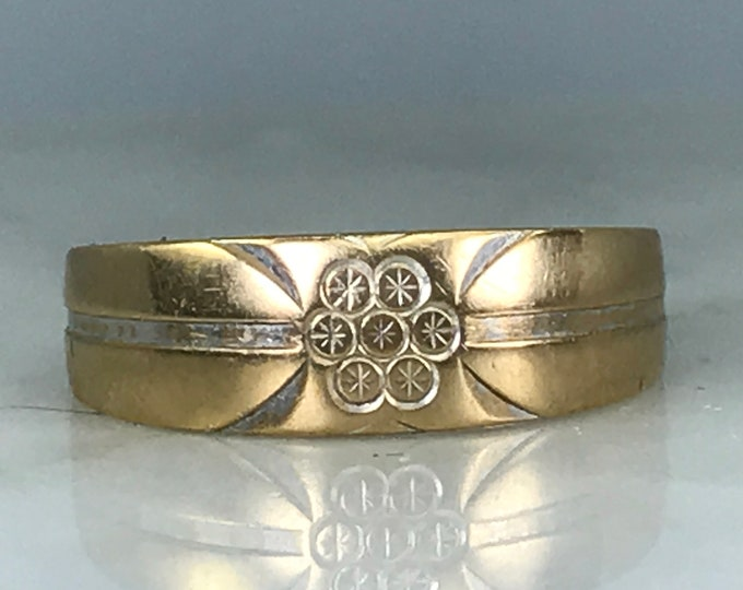 Etched Gold Wedding Band or Yellow Gold Stacking Ring. Size 6 1/4 US. Estate Jewelry.