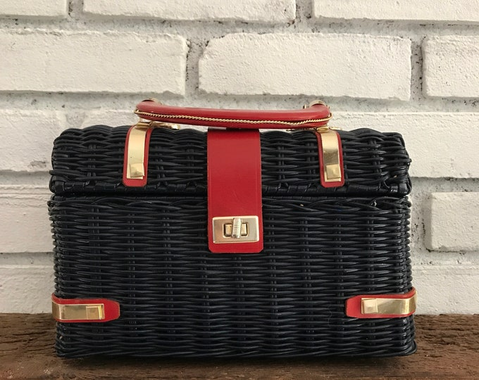 Vintage Navy Blue Wicker Basket Purse. Red Leather Handle and Closure. 1960s. Summer Purse. Rattan Box Purse. Gift for Her.