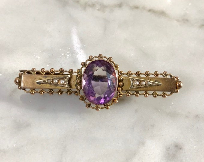 Antique Amethyst Brooch or Pendant in 9K Yellow Gold. February Birthstone. 6th Anniversary Gift.
