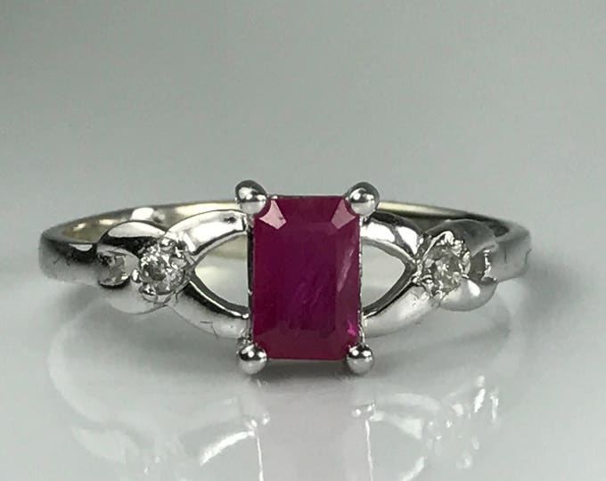 Vintage Ruby Diamond Ring. 14K White Gold. Unique Engagement Ring. July Birthstone. 15th Anniversary Gift. Estate Jewelry.