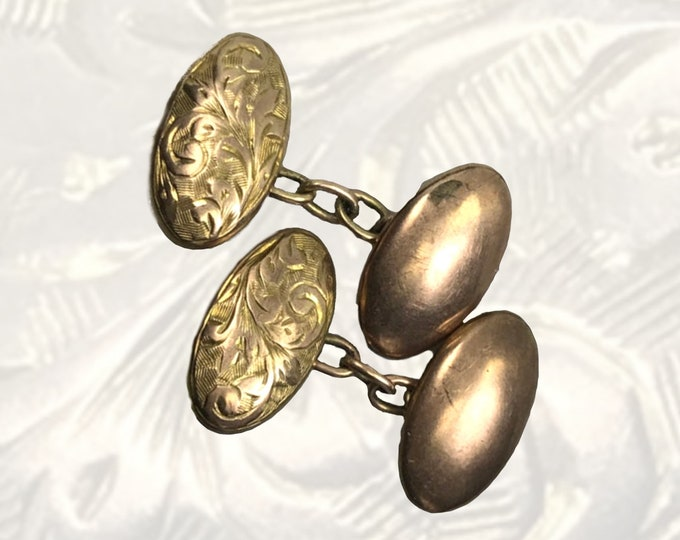 1900s Antique Cuff Links with Scroll Etching in Yellow Gold. Sustainable Estate Fine Jewelry. Gift for Him. Grooms Gift.