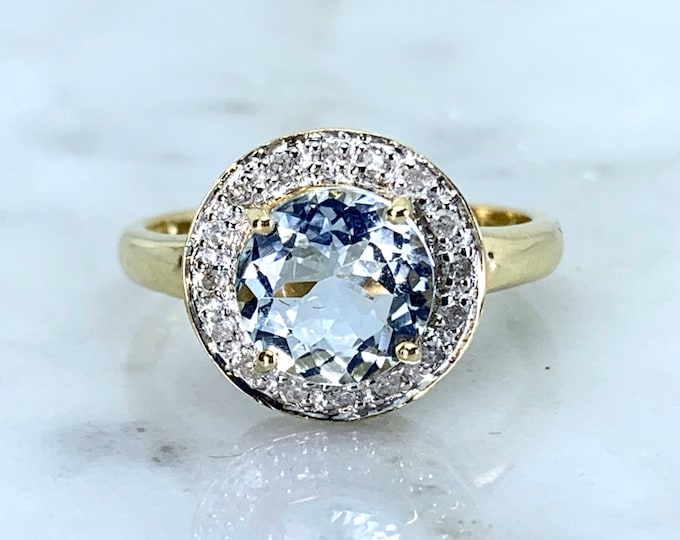 Aquamarine Ring with Diamond Halo in a 10k Gold Setting. Unique Engagement Ring. March Birthstone. Vintage Estate Jewelry.