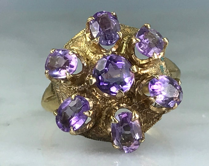 Amethyst Cluster Ring. 10k Yellow Gold. Esemco. Unique Engagement Ring. February Birthstone. 6th Anniversary Gift. Vintage Estate Jewelry.