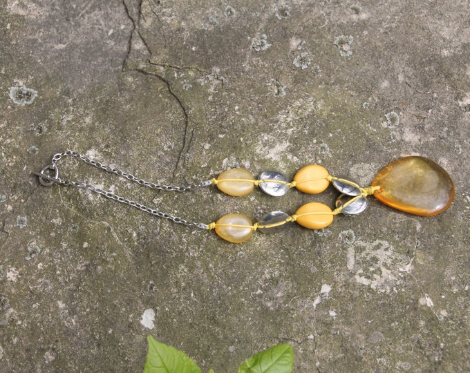 Vintage Amber Necklace with Teardrop Pendant and Yellow and Silver Beads. Boho Chic Jewelry. Hippie Accessory