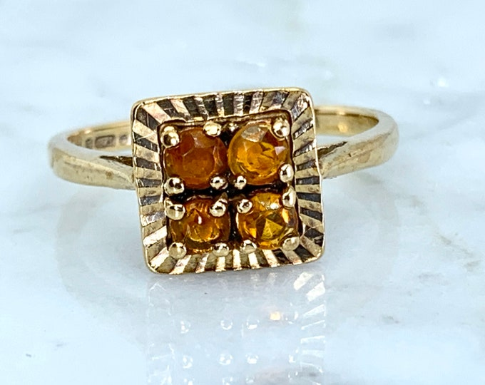 Vintage Citrine Ring. 9K Yellow Gold. 4 Round Cut. Unique Engagement Ring. November Birthstone. 13th Anniversary.  Estate Jewelry.