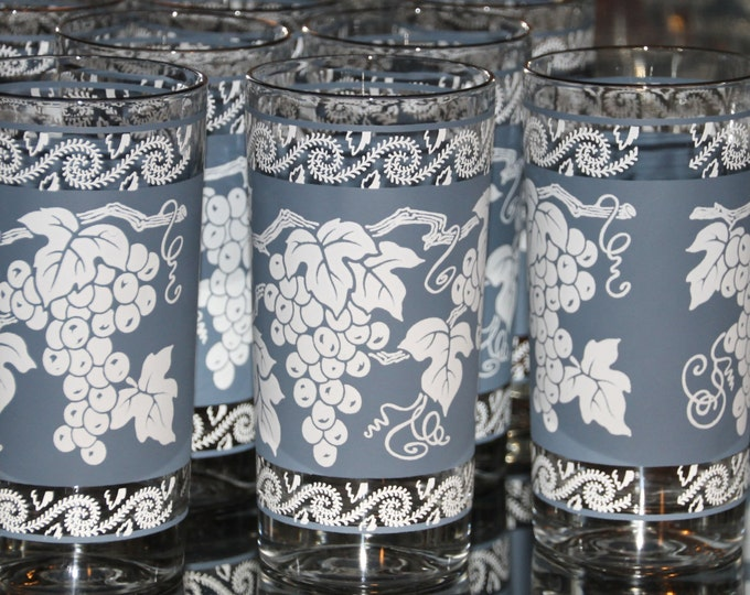 Vintage Glassware of Tall Tumbler Glasses. 1960s Anchor Hocking Blue and White Grape Pattern with Silver Rim. Set of 8. Barware.