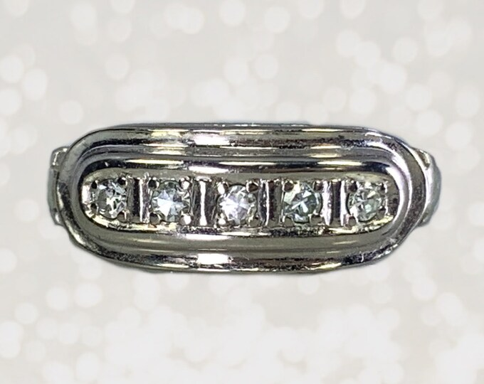 Vintage Diamond Band in 14K White Gold. Perfect for a Wedding Ring or Stacking Ring. April Birthstone. 10th Anniversary Gift. Estate Jewelry