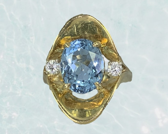 Aquamarine Diamond Statement Ring in a 14k Yellow Gold Modernist Setting. Unique Engagement Ring. March Birthstone. 19th Anniversary Gift.
