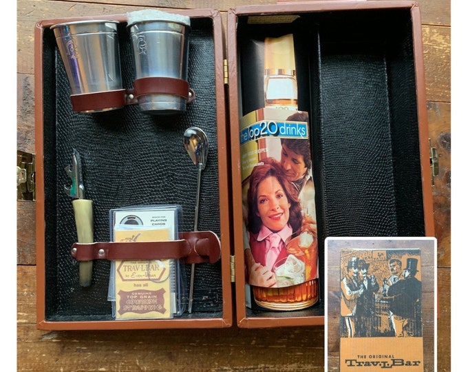 Vintage Portable Travel Bar in a Brown Leather Case. In Original Box with Cups, Utensils and Drink Recipes!