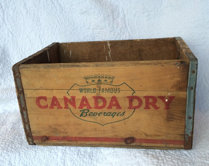Vintage Wood Crate from Canadia Dry. Travel Bar. Bottle Carrier. Home Storage. Antique Decor. Rustic Box. Decor
