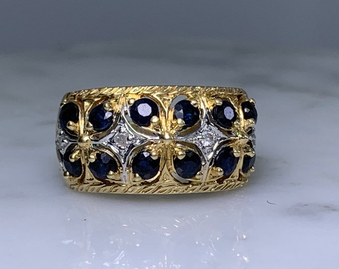 Vintage London Blue Topaz and Diamond Band Ring in Yellow Gold. Unique Engagement Ring. 4th Anniversary Gift. Estate Fine Jewelry.
