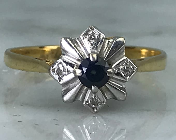 Vintage Sapphire Promise Ring. Sapphire Diamond Engagement Ring. 18K Gold. Unique Engagement Ring. September Birthstone. 5th Anniversary.