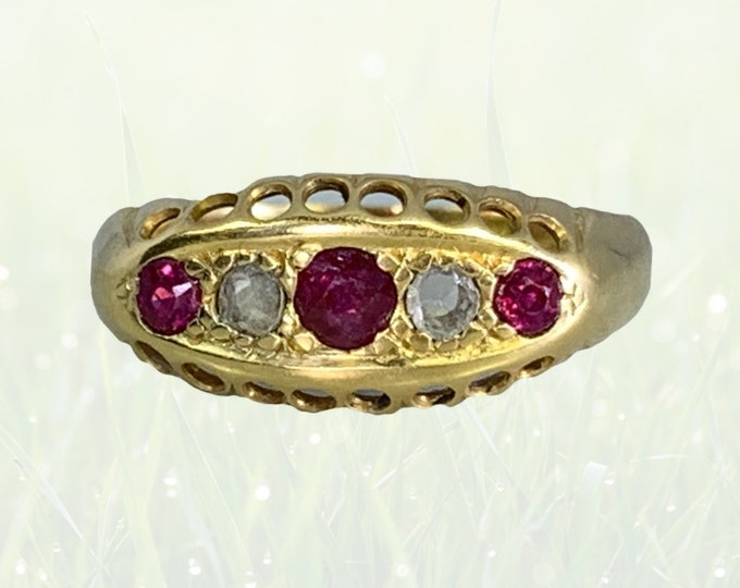 Spinel and Diamond Ring in 18k Yellow Gold. Unique Wedding Band or Stacking Ring. August Birthstone. 1890s Antique.