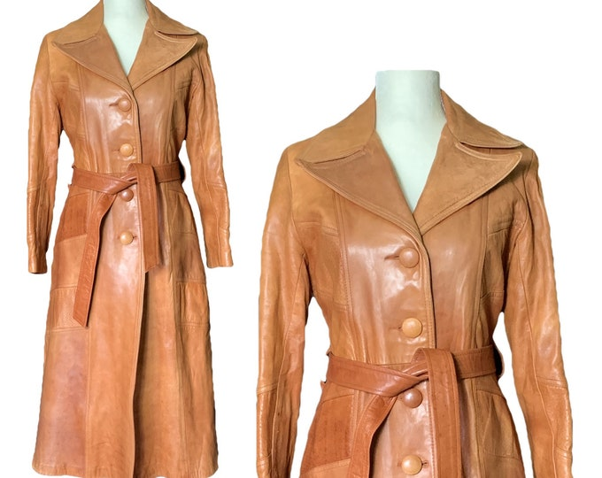 1960s Brown Leather Trench Coat by Altman of Dallas. Bohemian Southwestern Style. Vintage Fashion Statement Clothing