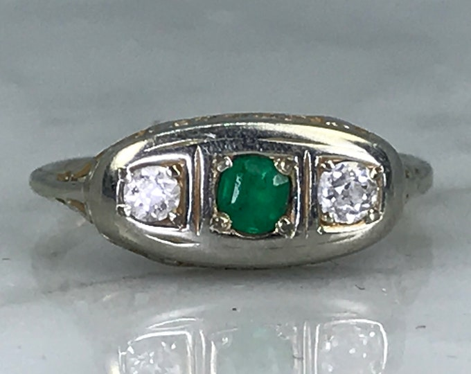 Antique Emerald and Diamond Ring. 18K White Gold. Unique Engagement Ring. Promise Ring. Estate Jewelry. May Birthstone. 20th Anniversary.