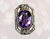 Antique Amethyst Pendant set in 14K Gold. Upcycled or Repurposed Hat Pin. February Birthstone. Sustainable Vintage Jewelry Circa 1930s.
