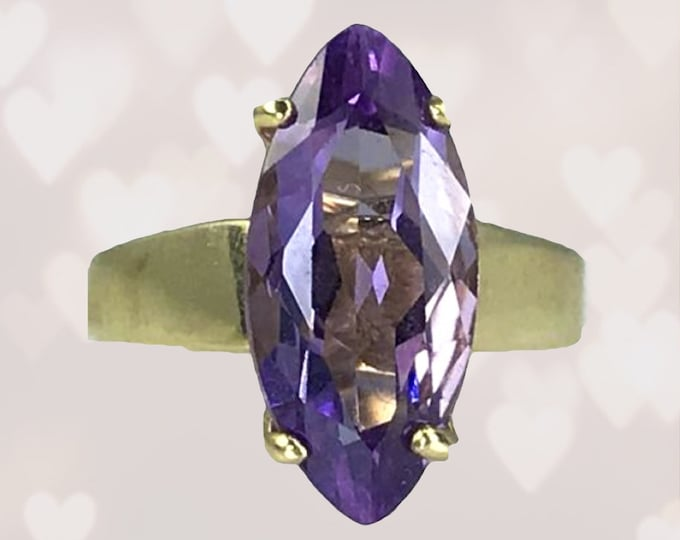 Marquise Amethyst Ring set in 14K Yellow Gold. Unique Engagement Ring. February Birthstone. 6th Anniversary. Estate Fine Jewelry.