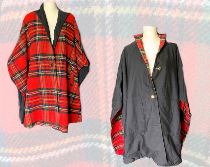 1960s Reversible Wool Poncho Cape in Red Tartan Plaid and Black Cotton. Warm Fall and Winter Outerwear. Two in one!
