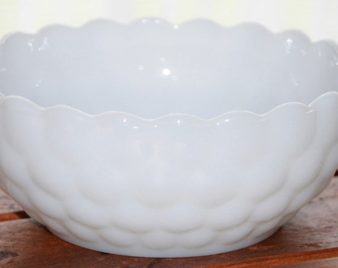 Vintage Milk Glass Bowl by Anchor Hocking in Bubble Pattern. Decorative Candy Dish. White Vase. Cottage Chic. Home Decor. Collectible