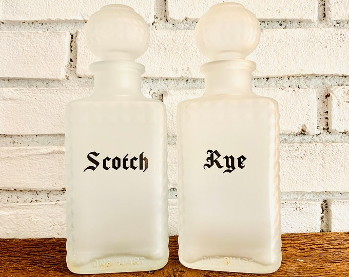 1940s Frosted Glass Decanter Set with Scotch and Rye Bottles. Vintage Barware makes a Perfect Housewarming Gift.
