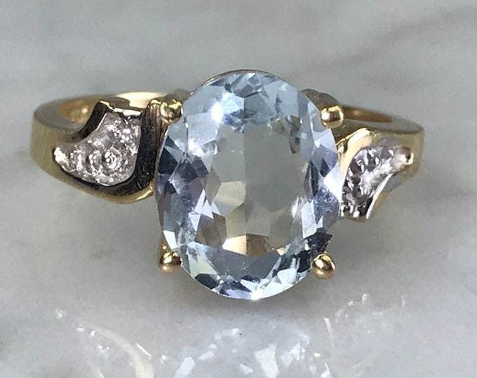 Vintage Aquamarine Diamond Ring set in 14K Yellow Gold. Unique Engagement Ring. March Birthstone. 19th Anniversary Gift.