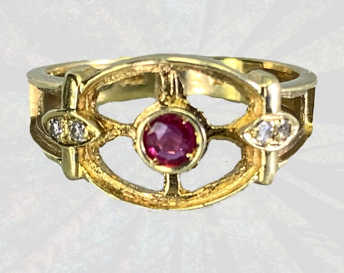 Antique 1920s Ruby and Diamond Ring in a 14K Yellow Gold. Unique Engagement Ring. July Birthstone. 15th Anniversary. Estate Jewelry