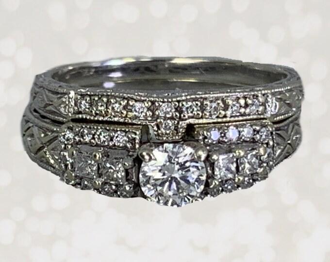 Vintage 1940s Diamond Engagement Ring and Wedding Band Set. 14K White Gold Bridal Set. Sustainable Estate Jewelry.
