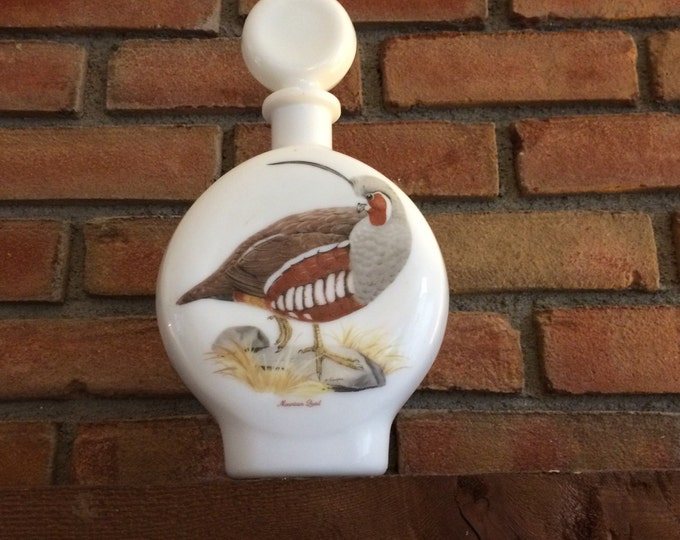Vintage Milk Glass Decanter. Hand Painted Mountain Quail signed by A Singer. Liquor Bottle. Collectible Decanter. Barware. Bar Decor.