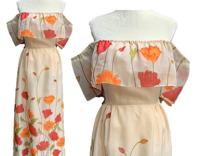 1950s Floral Maxi Dress with Burnt Orange and Red Poppy Flowers  by Alfred Shaheen. Perfect Strapless Summer Dress
