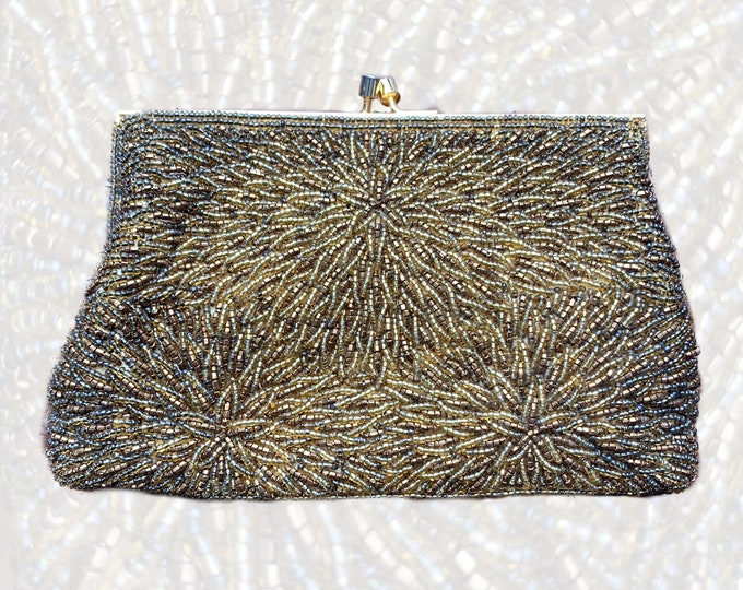 Vintage Copper Metallic Glass Beaded Clutch by Walborg. Old Hollywood Glamour Evening Bag. Sustainable Fashion Accessory Circa 1960s.