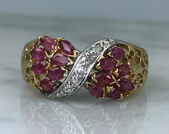 Vintage Ruby Diamond Cluster Bypass Ring in 14K Yellow Gold. July Birthstone. 15th Anniversary Gift. Estate Jewelry.