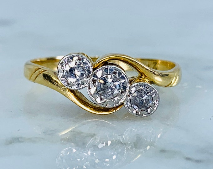 Antique Art Deco Diamond Engagement Ring in 18K Yellow Gold. Trilogy Diamond Rings Represent the Past Present and Future.